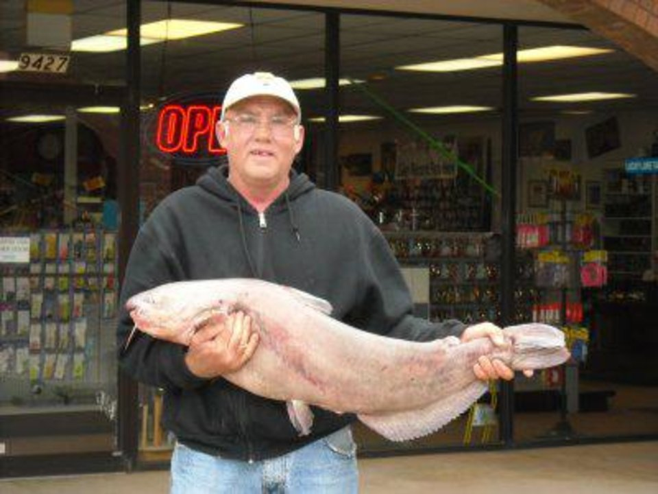 Photo - Larry Newton of Oklahoma City caught this 26-pound channel cat from Lake Overholser on Monday that is the new lake record for the Oklahoma City lake. Newton caught the fish using Punch bait on a slip cork. Photo Provided