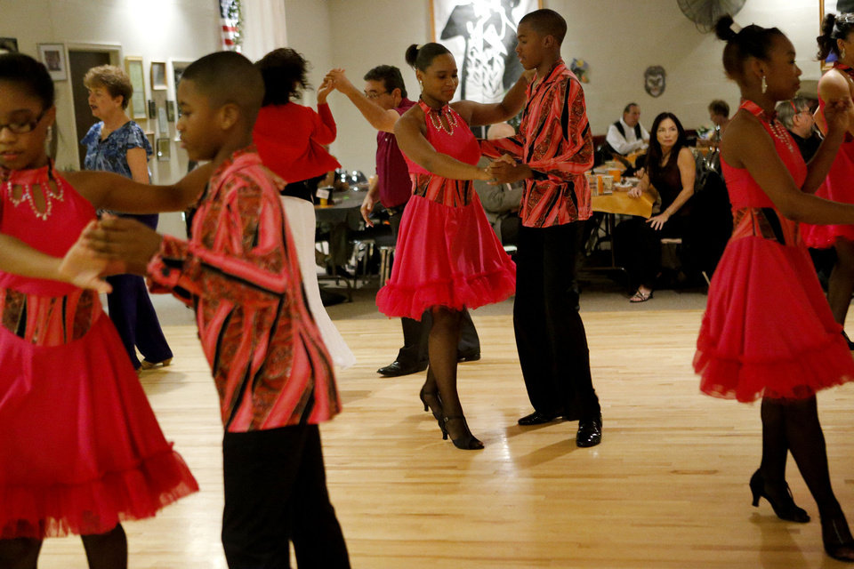 Rianna Brooks, 15, and Jerome Carter, 13, with Life Change Ballroom Dancers, Friday, Oct. 19, 2012, at the Oklahoma City Swing Club. Photo by Bryan Terry, The Oklahoman <strong>BRYAN TERRY - THE OKLAHOMAN</strong>