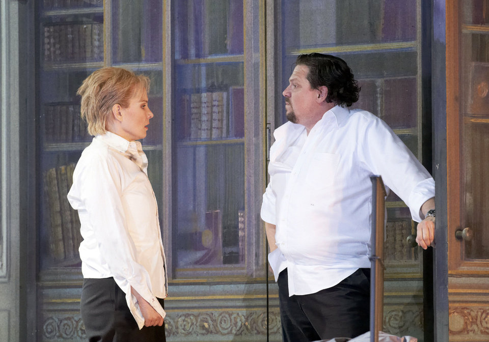 Photo -   In this photo taken Monday, May 7, 2012, Elina Garanca in the role of Sesto and Michael Schade as Tito, from left, perform during a dress rehearsal for the opera