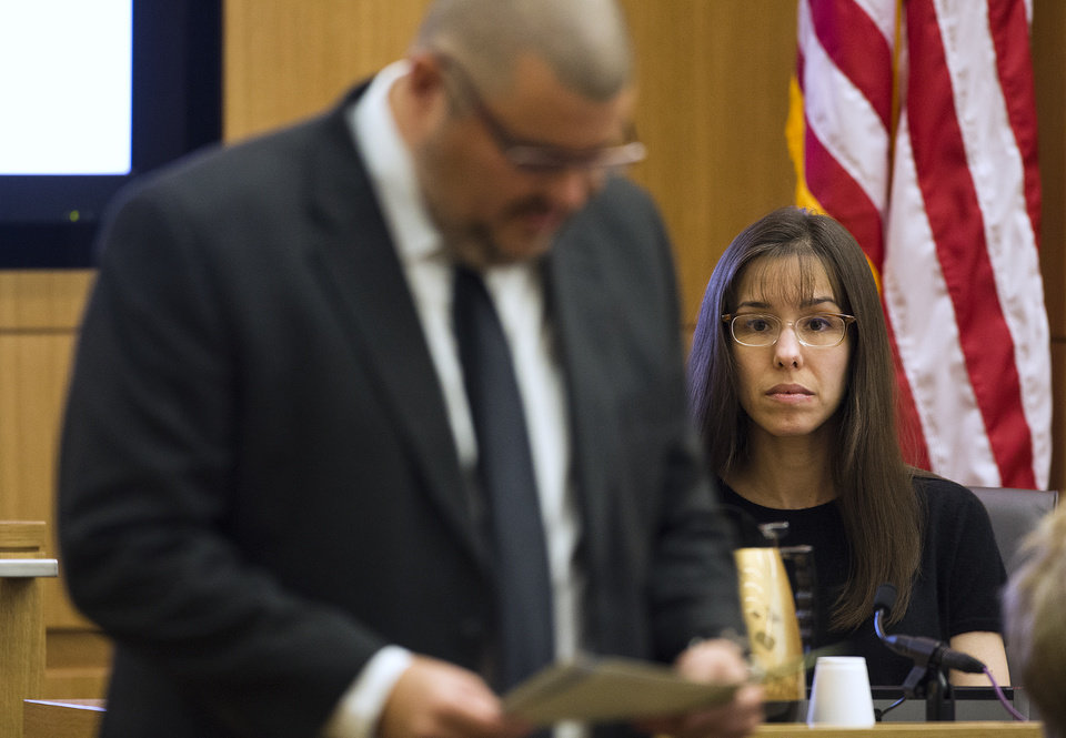 Jodi Arias is questioned Monday, March 4, 2013, during redirect from defense attorney Kirk Nurmi   in Maricopa County Superior Court in downtown Phoenix.  Arias is on trial for the murder of Travis Alexander in 2008.  (AP Photo/Arizona Republic, Tom Tingle, POOL)