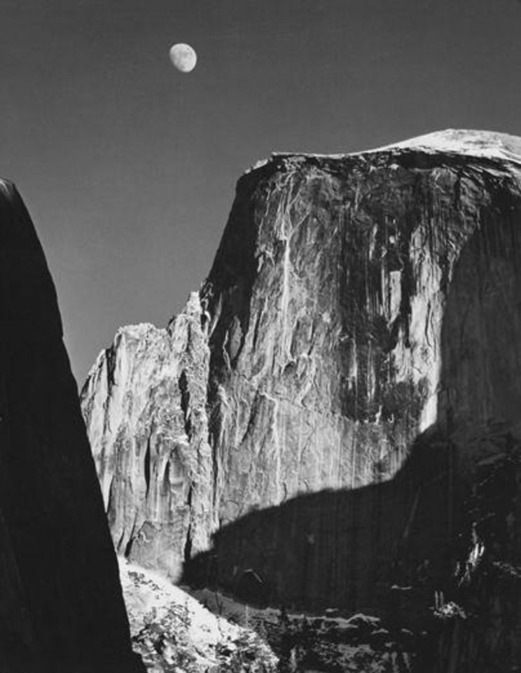 """Photo -  Ansel Adams' iconic 1960 photograph """"Moon and Half Dome, Yosemite National Park"""" is part of the exhibit """"Ansel Adams: An American Perspective"""" at the Oklahoma City Museum of Art. Photo provided"""