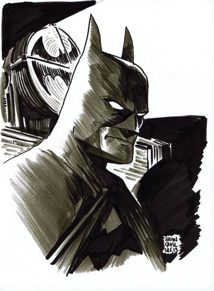 A Batman sketch from Francesco Francavilla that was auctioned for tornado relief. Image via http://francesco-francavilla.blogspot.com/