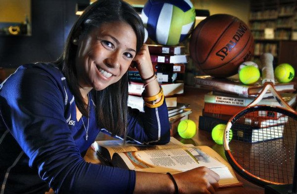 Photo - Scholar athlete Carissa Villaflor, of Heritage Hall poses for a photo at Heritage Hall Library on Tuesday, June 14, 2011, in Oklahoma City, Okla. Photo by Chris Landsberger, The Oklahoman  CHRIS LANDSBERGER