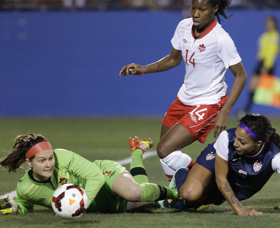 Photo - Canada goalkeeper Erin McLeod (1) makes a save as United States forward Sydney Leroux, right, and Kadeisha Buchanan (14) close in during the first half of a soccer game on Friday, Jan. 31, 2014, in Frisco, Texas. (AP Photo/LM Otero)
