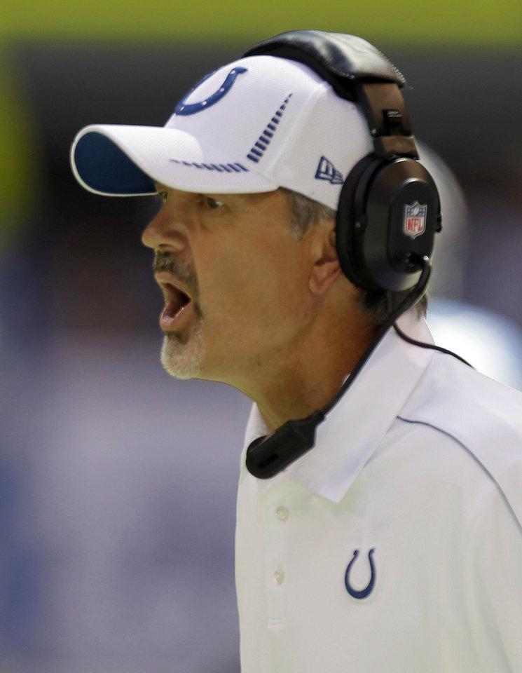 Photo -   Indianapolis Colts head coach Chuck Pagano reacts during the second half of an NFL football game against the Minnesota Vikings in Indianapolis, Sunday, Sept. 16, 2012. (AP Photo/Michael Conroy)