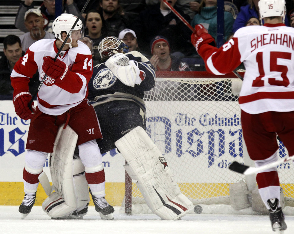 Photo - Detroit Red Wings' Gustav Nyquist (14), of Sweden, scores his second goal against Columbus Blue Jackets goalie Curtis McElhinney (31) as Detroit's Riley Sheahan (15) looks on in the second period of an NHL hockey game in Columbus, Ohio, Tuesday, March 25, 2014. (AP Photo/Paul Vernon)