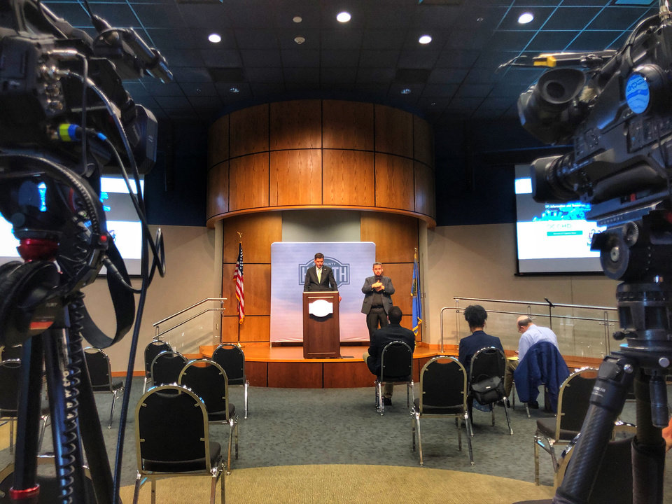 Photo - OKC Mayor David Holt announces restrictions for bars, gyms, restaurants, and other establishments across the city in light of coronavirus. Image by Dave Morris.