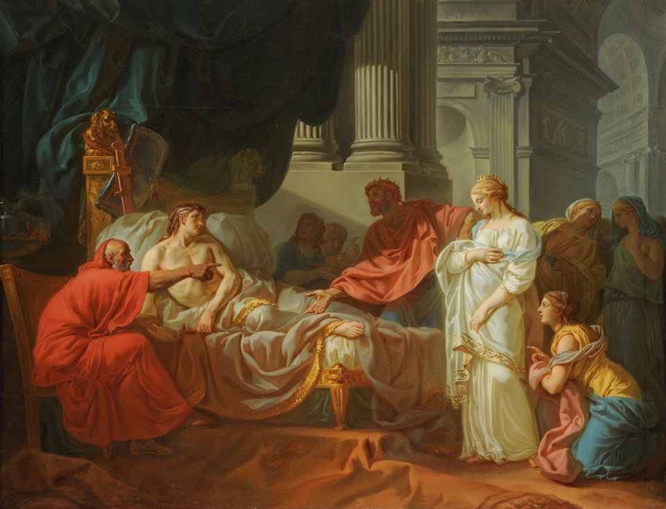 """Photo -  """"Erasistratus Discovers the Cause of Antiochus's Disease,"""" a 1774 oil painting by French artist Jacques-Louis David, is featured in the traveling exhibition """"Gods and Heroes: Masterpieces From the Ecole des Beaux-Arts, Paris,"""" on view through Sept. 14 at the Oklahoma City Museum of Art. Photo provided by the American Federation of Arts"""