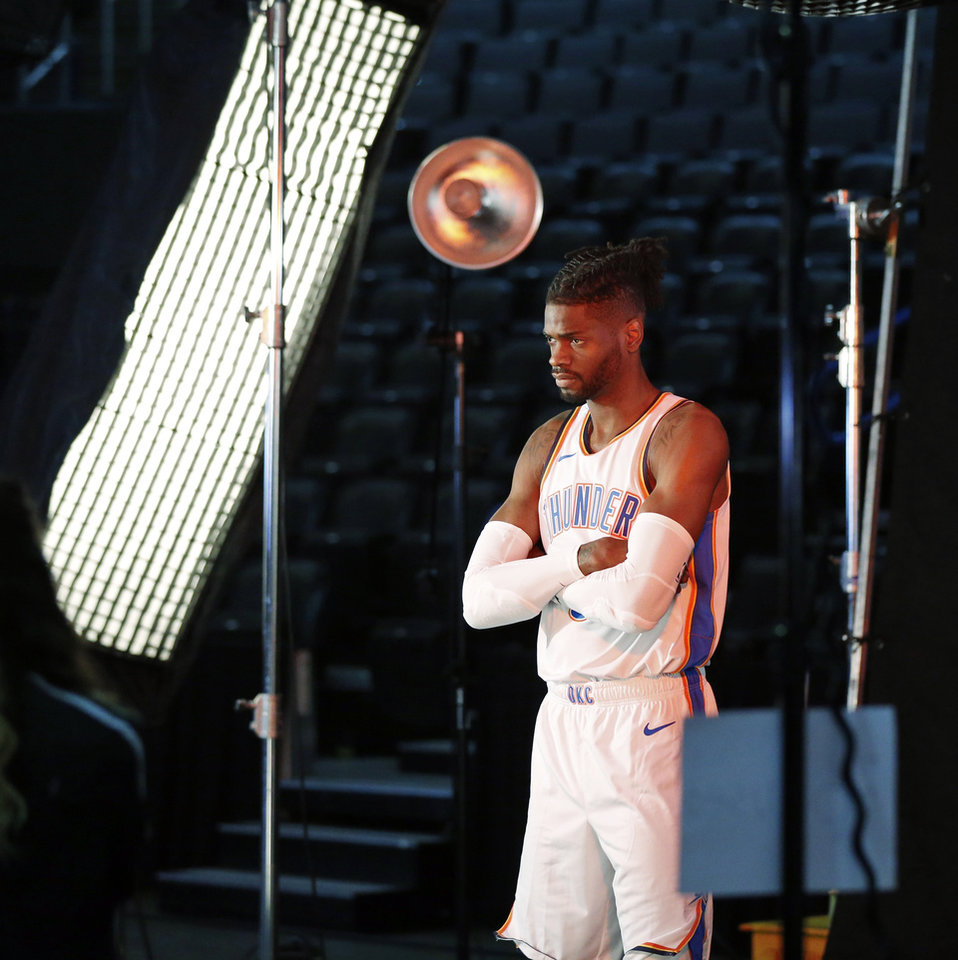 Photo - Nerlens Noel poses during a photo shoot at media day for the Oklahoma City Thunder at Chesapeake Energy Arena in Oklahoma City, Monday, Sept. 24, 2018. Photo by Nate Billings, The Oklahoman