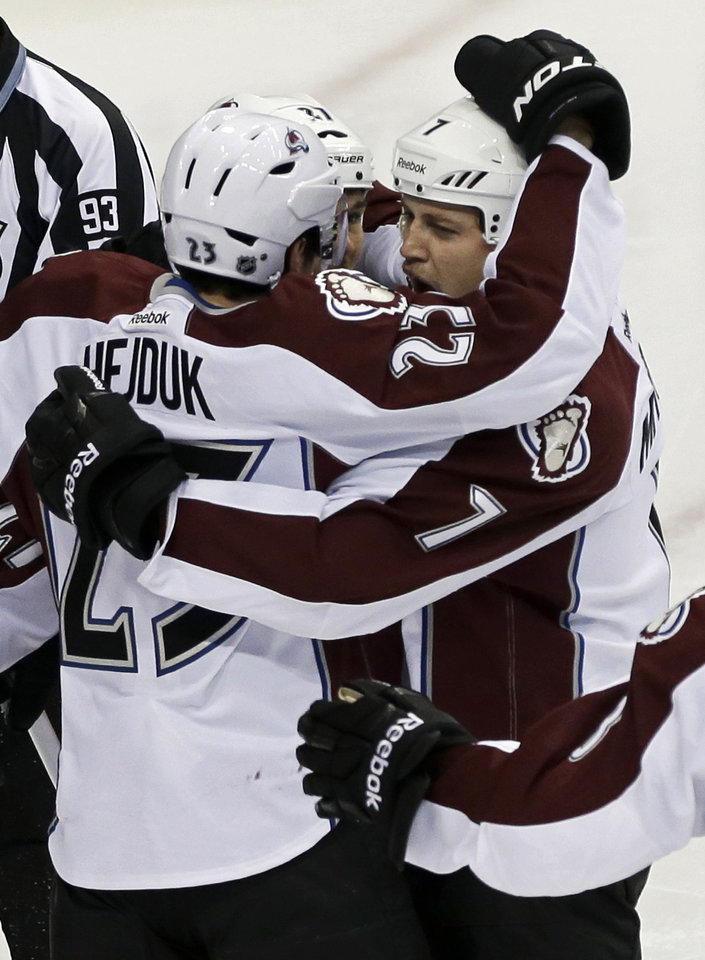 Colorado Avalanche's John Mitchell,right, is congratulated by teammates after his goal off Minnesota Wild goale Niklas Backstrom of Finland in the first period of an NHL hockey game Saturday, Jan. 19, 2013 in St. Paul, Minn. (AP Photo/Jim Mone)