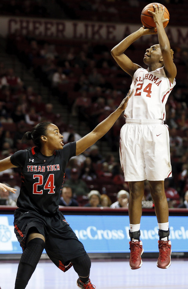 Oklahoma\'s Sharane Campbell (24) shoots against Texas Tech\'s Audrisa Harrison (24) during a women\'s college basketball game between the Oklahoma Sooners and Texas Tech at Lloyd Noble Center in Norman, Okla., Monday, March 3, 2014. Photo by Nate Billings, The Oklahoman