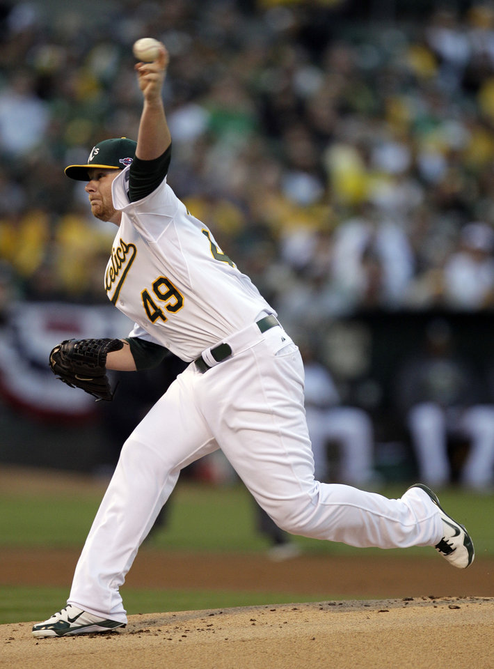 Photo -   Oakland Athletics starting pitcher Brett Anderson throws during the first inning of Game 3 of the Athletics' American League division baseball series against the Detroit Tigers in Oakland, Calif., Tuesday, Oct. 9, 2012. (AP Photo/Ben Margot)