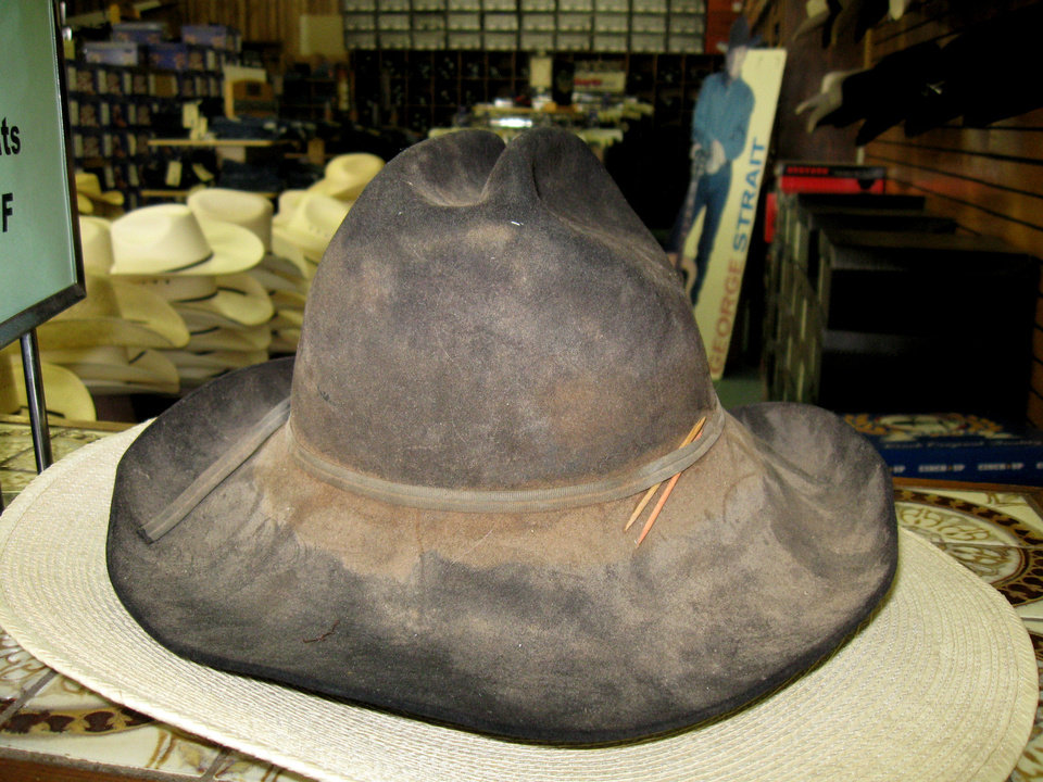 Shown is an old cowboy hat that is part of Mark Crutcher�s collection.