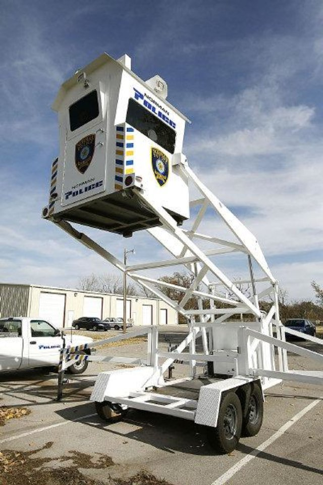 Photo - The Norman Police Dept. has acquired this Skywatch tower to assist in deterring crimes in Norman. Photo by Paul Hellstern, The Oklahoman