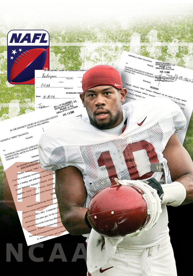 Photo - COURT DOCUMENTS / FLORIDA STATE UNIVERSITY / NORTH AMERICAN FOOTBALL LEAGUE / NAFL / FSU blew whistle GRAPHIC WITH PHOTO: UNIVERSITY OF OKLAHOMA / OU COLLEGE FOOTBALL: Oklahoma linebacker Mike Balogun is pictured during a team football practice in Norman, Okla., Monday, Aug. 18 2008. (AP Photo)   ILLUSTRATION BY TODD PENDLETON, THE OKLAHOMAN