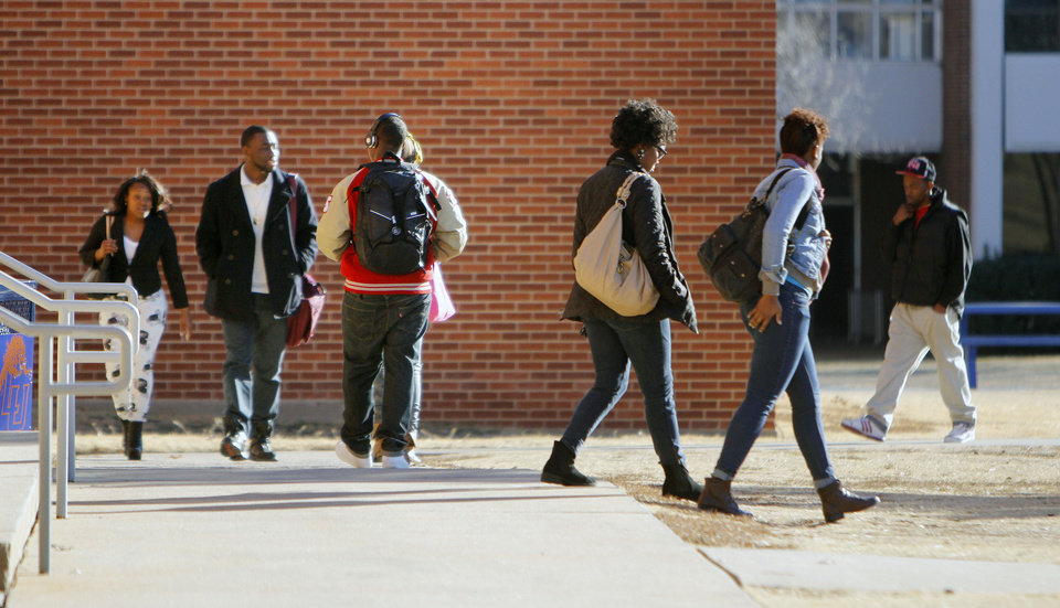 Students move between classes at Langston University.   By Paul Hellstern, The Oklahoman <strong>PAUL HELLSTERN - Oklahoman</strong>