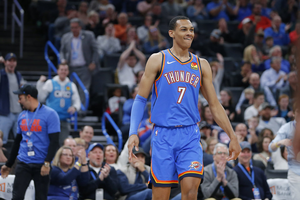 Photo - Oklahoma City's Darius Bazley (7) smiles after making a basket during an NBA basketball game between the Oklahoma City Thunder and the New Orleans Pelicans at Chesapeake Energy Arena in Oklahoma City, Saturday, Nov. 2, 2019. Oklahoma City won 115-104. [Bryan Terry/The Oklahoman]
