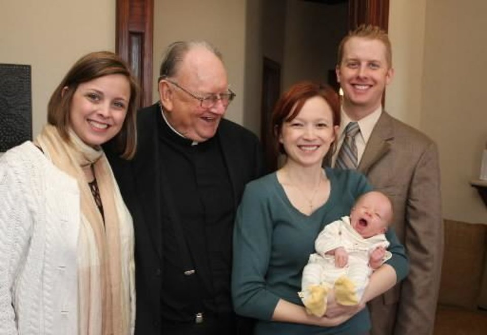 Karen Brown, the Rev. Paul Gallatin, Kirsten Cash, Brecken Cash, Ross Cash. PHOTO BY DAVID FAYTINGER, FOR THE OKLAHOMAN