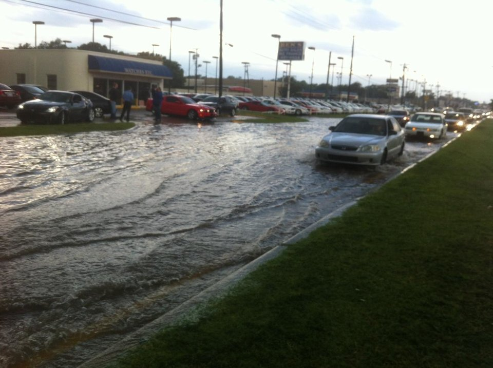High water near NW 39th Expressway and N MacArthur. Photo by Robert Medley