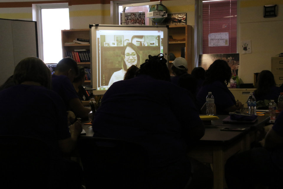"Photo -  Gillian Flynn, author of the best-selling novel ""Gone Girl,"" speaks to students at Dimensions Academy in Norman via Skype. [PHOTO PROVIDED]"
