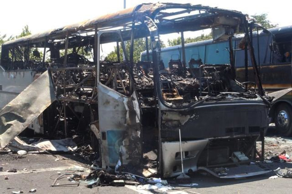 Photo -   This image provided by the Bulgarian Interior Ministry Thursday July 19, 2012, shows a damaged bus following Wednesday's deadly suicide attack on a bus full of Israeli vacationers at the Burgas airport parking lot, Burgas, Bulgaria. The attack occurred shortly after the Israelis boarded a bus outside the airport in the Black Sea resort town of Burgas, a popular destination for Israeli tourists — particularly for high school graduates before they are drafted into military service. Burgas is about 400 kilometers (250 miles) east of the capital, Sofia. (AP Photo/Bulgarian Interior Ministry)