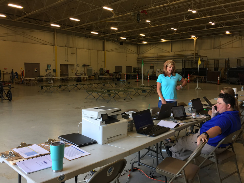 Photo - A medical evacuation center opened Wednesday at Will Rogers World Airport to receive patients from Hurricane Harvey.