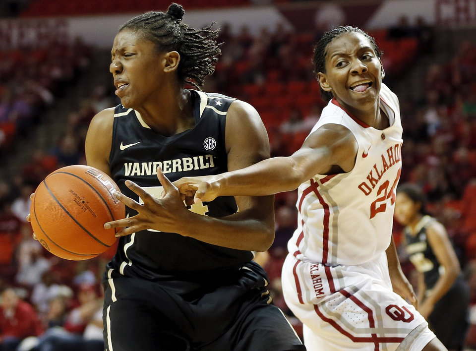 OU's Sharane Campbell (24) tries to steal the ball from Vanderbilt's Tiffany Clarke (34) in the first half during a women's college basketball game between the University of Oklahoma Sooners and the Vanderbilt Commodores at Lloyd Noble Center in Norman, Okla., Sunday, Dec. 16, 2012. Photo by Nate Billings, The Oklahoman