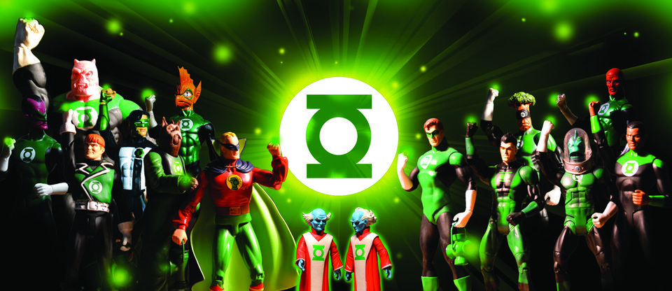 Photo -  Green Lantern toys are on display at the Toy & Action Figure Museum in Pauls Valley.