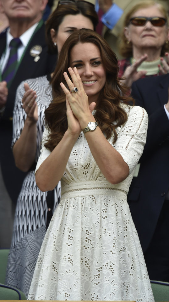 Photo - Kate, Duchess of Cambridge watches from the Royal Box on centre court the men's singles quarterfinal match between Grigor Dimitrov of Bulgaria and Andy Murray of Britain at the All England Lawn Tennis Championships in Wimbledon, London, Wednesday July 2, 2014. (AP Photo/Toby Melville, Pool)