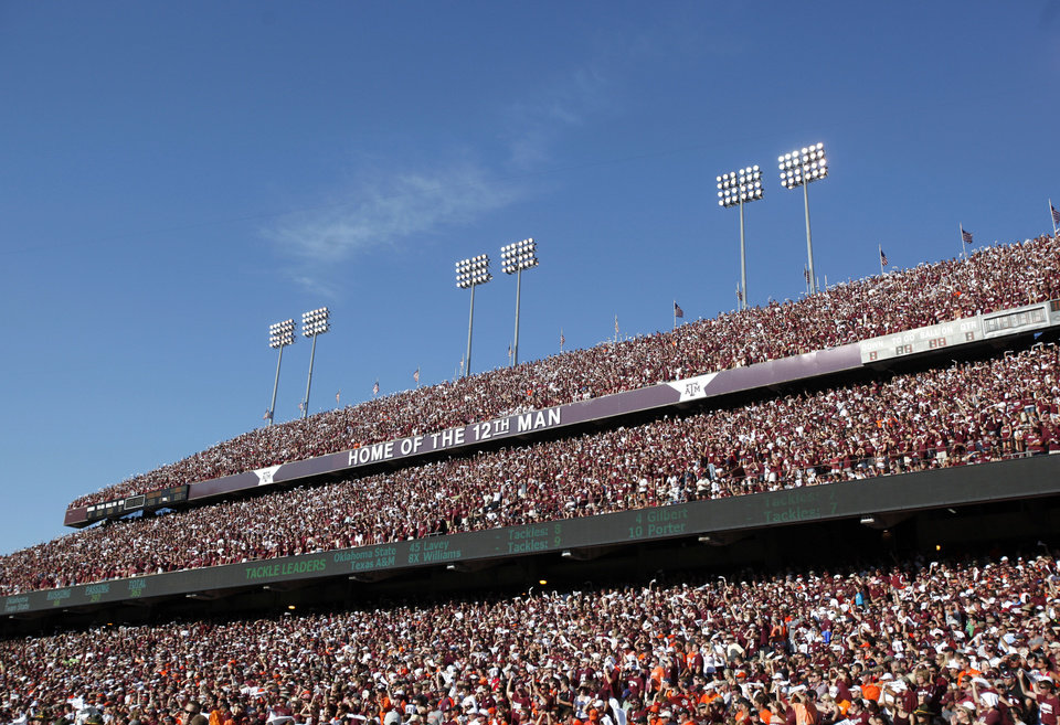 Fans watch the second half during the Texas A&M-Oklahoma State game. Photo by Sarah Phipps, The Oklahoman