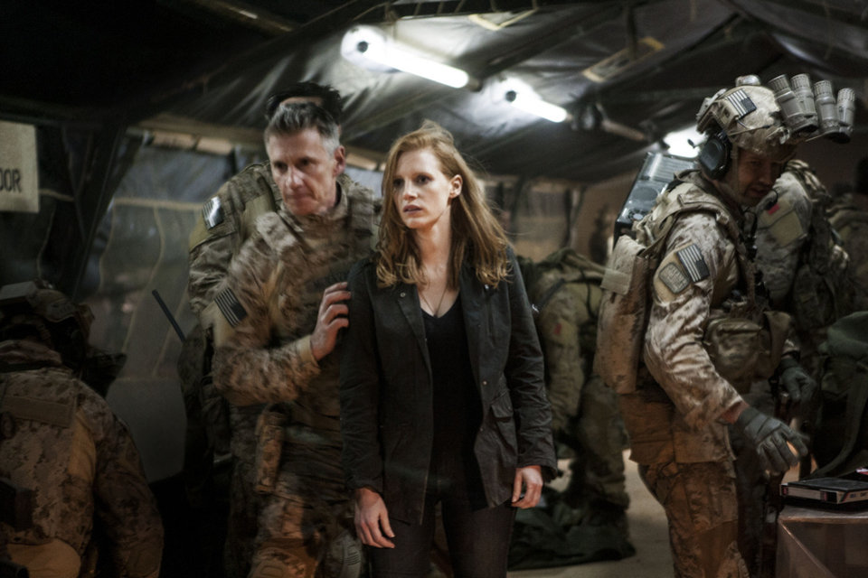 "From left, Christopher Stanley, Jessica Chastain and Alex Corbet Burcher in a scene from the fact-based thriller ""Zero Dark Thirty."" COLUMBIA PICTURES PHOTO <strong></strong>"