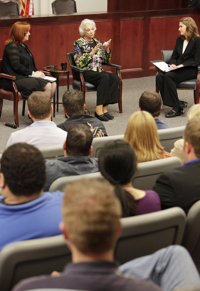 Photo - Retired Supreme Court Justice Sandra Day O'Connor, center, speaks to students, faculty and staff at OCU, Thursday, April 14, 2011. Photo by David McDaniel, The Oklahoman