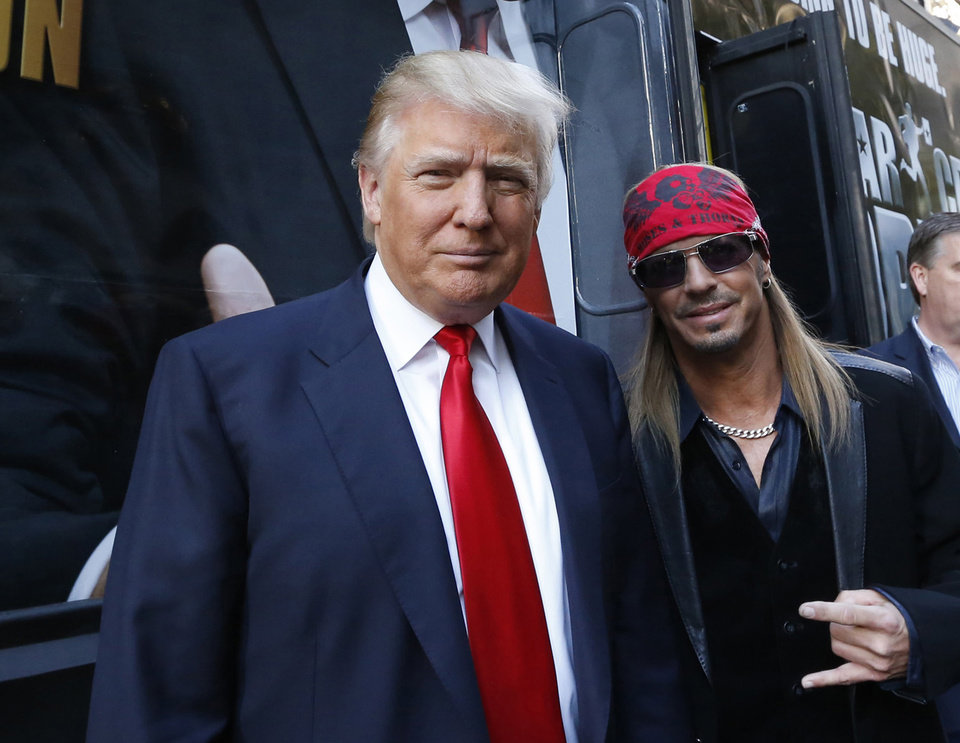 Photo -   This image released by NBC shows Donald Trump, left, and rocker Bret Michaels at the announcement of the new cast of