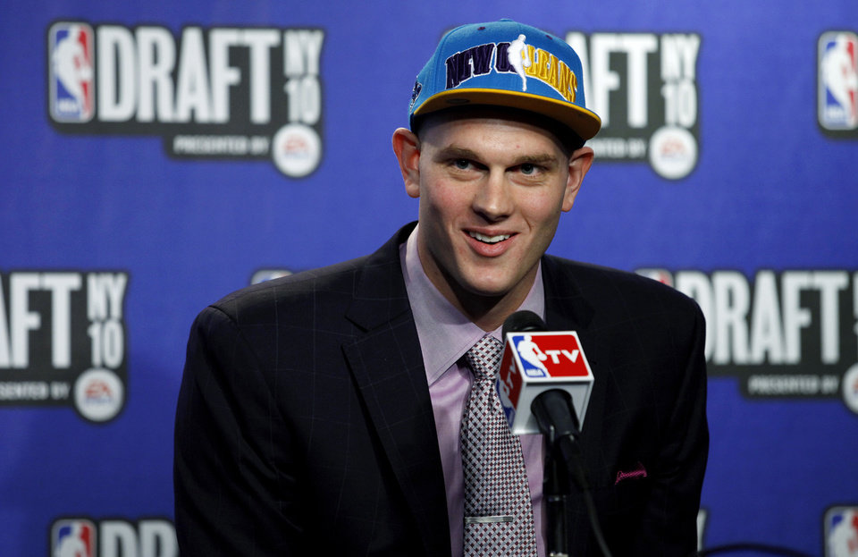 Photo - Kansas' Cole Aldrich addresses the media after being as picked by the New Orleans Hornets in the NBA basketball draft in New York on Thursday, June 24, 2010. The Hornets agreed to trade Aldrich and guard Morris Peterson to the Oklahoma City Thunder for the Thunder's 21st and 26th picks in the first round. (AP Photo/Craig Ruttle) ORG XMIT: NYCR117