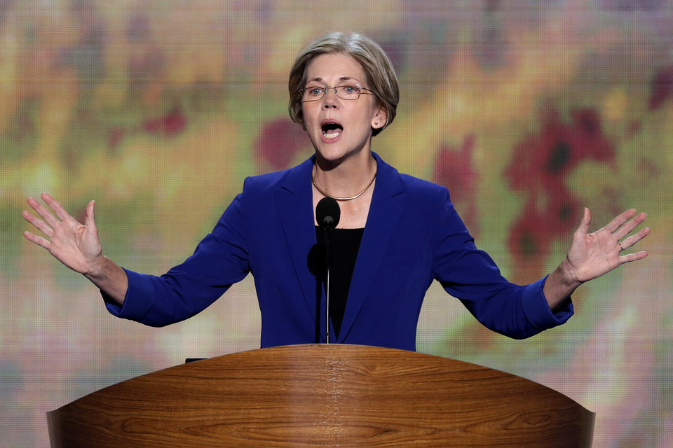 Photo - Senate candidate from Massachusetts Elizabeth Warren addresses the Democratic National Convention in Charlotte, N.C., on Wednesday, Sept. 5, 2012. (AP Photo/J. Scott Applewhite)  ORG XMIT: DNC172