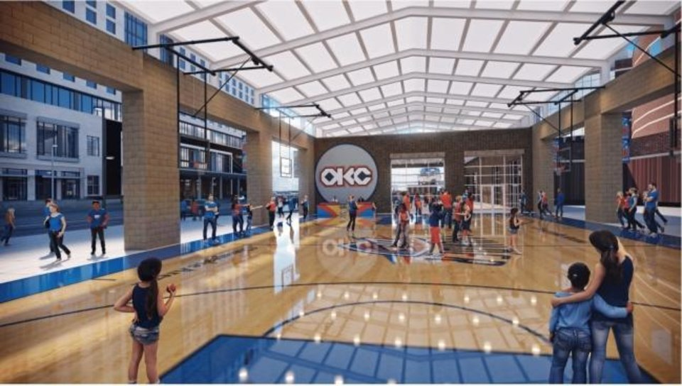 Photo -  Public art and a lit up plaza are to be included in the proposed Thunder Alley Entertainment Zone south of Chesapeake Arena. [Rendering by Bockus Payne Architects]