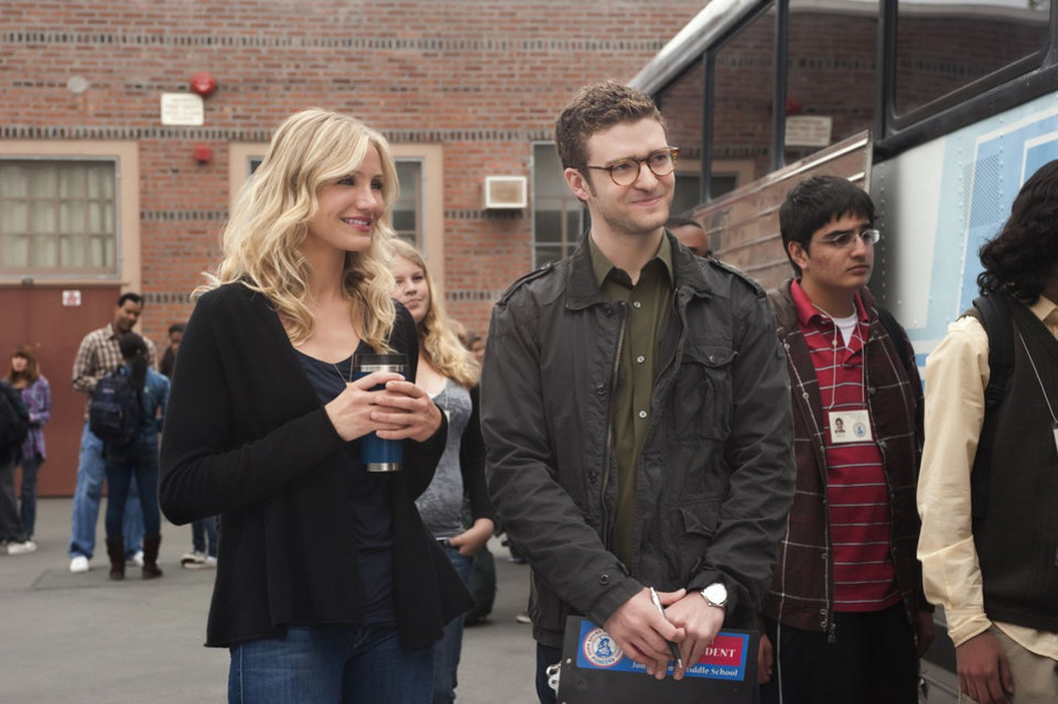 "L-r, Cameron Diaz and Justin Timberlake star in Columbia Pictures' comedy ""Bad Teacher."""