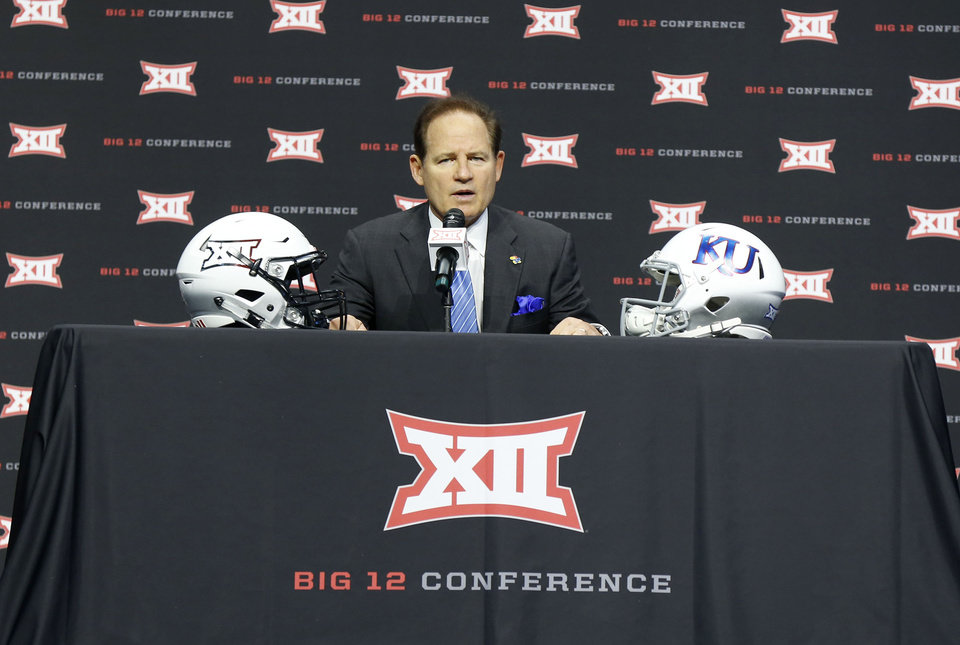 Photo - KU head coach Les Miles at the Big 12 Media Day at AT&T Stadium in Dallas, TX, July 15, 2019. STEPHEN PINGRY/Tulsa World