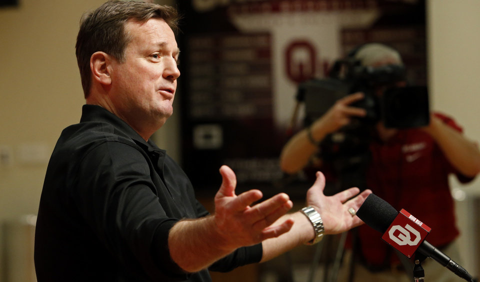 University of Oklahoma Sooners (OU) head football coach Bob Stoops talks about his 2014 recruiting class in the Adrian Peterson Room at Gaylord Family-Oklahoma Memorial Stadium in Norman, Okla., on Wednesday, Feb. 5, 2014. Photo by Steve Sisney, The Oklahoman