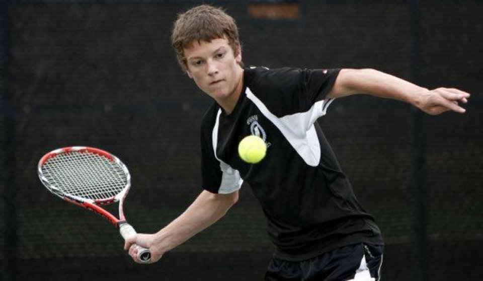 Sam Raglin of Harrah competing in a state tennis tournament in May 2010. <strong>BRYAN TERRY - THE OKLAHOMAN</strong>
