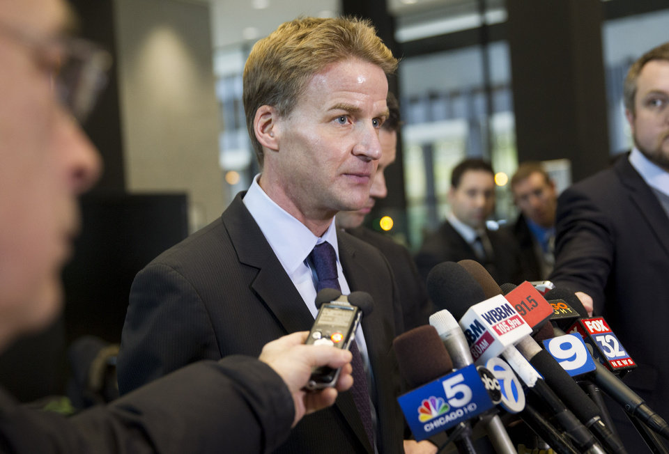 Photo - U.S. Attorney Zachary Fardon speaks to reporters after the sentencing of Beanie Babies creator H. Ty Warner on Tuesday, Jan. 14, 2014, at the federal building  in Chicago. Warner was sentenced to two years of probation, but no prison time, for tax evasion on $25 million in income he had in Swiss bank accounts. (AP Photo/Andrew A. Nelles))