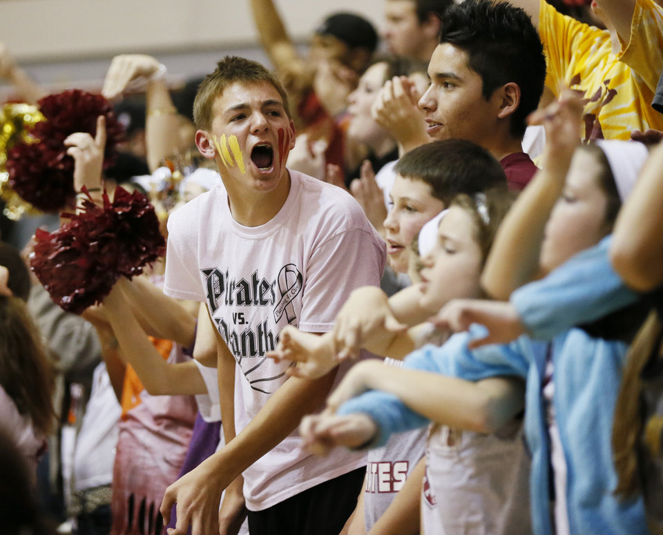 Photo - Byng fans cheer as their team plays Mount St. Mary during a Class 4A girls high school basketball game in the first round of the state tournament at the Sawyer Center on the campus of Southern Nazarene University in Bethany, Okla., Thursday, March 7, 2013. Photo by Nate Billings, The Oklahoman