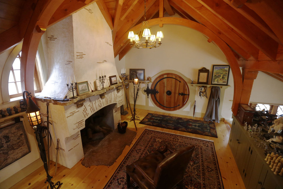 "Shown is an Interior view of the ""Hobbit House"" Tuesday, Dec. 11, 2012, in Chester County, near Philadelphia. Architect Peter Archer has designed a ""Hobbit House"" containing a world-class collection of J.R.R. Tolkien manuscripts and memorabilia. AP photo"
