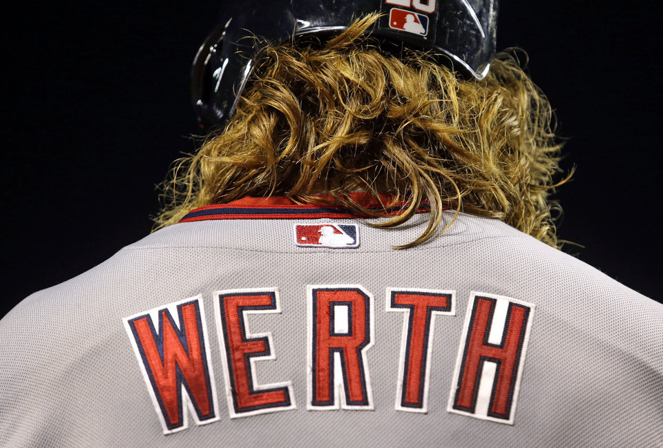 Photo - Washington Nationals' Jayson Werth prepares for an at-bat in the seventh inning of an interleague baseball game against the Baltimore Orioles, Thursday, July 10, 2014, in Baltimore. (AP Photo/Patrick Semansky)