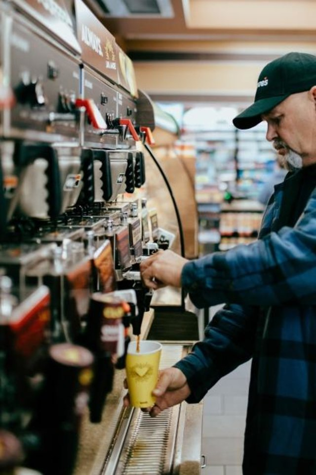 Photo -  The practice of self-serve coffee has ended at Love's Travel Stops and employees are providing full service on coffee and fountain drinks as part of new operations started in response to the COVID-19 pandemic. [PROVIDED]