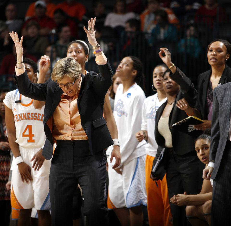 Tennessee coach Holly Warlick reacts during the Oklahoma City Regional for the NCAA women's college basketball tournament  between the University of Tennessee and Louisville at Chesapeake Energy Arena in Oklahoma City, Tuesday, April 2, 2013. Louisville won 86-78. Photo by Bryan Terry, The Oklahoman