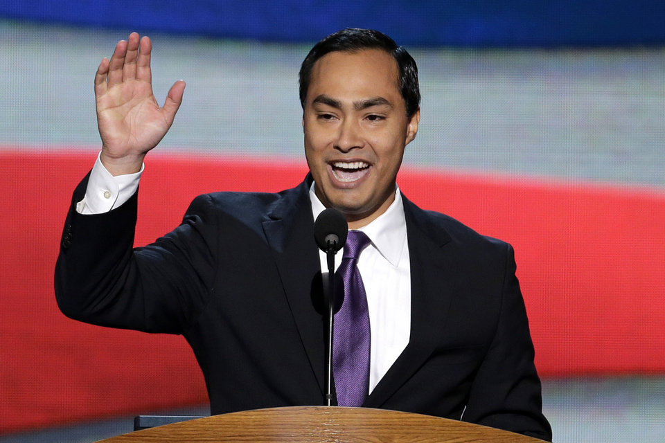 Photo - Joaquin Castro, San Antonio Mayor Julian Castro's brother introduces him to the Democratic National Convention in Charlotte, N.C., on Tuesday, Sept. 4, 2012. (AP Photo/J. Scott Applewhite)  ORG XMIT: DNC179