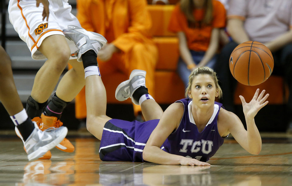 TCU\'s Kamy Cole (11) dives for the ball during a women\'s college basketball game between Oklahoma State University and TCU at Gallagher-Iba Arena in Stillwater, Okla., Tuesday, Feb. 5, 2013. Photo by Bryan Terry, The Oklahoman