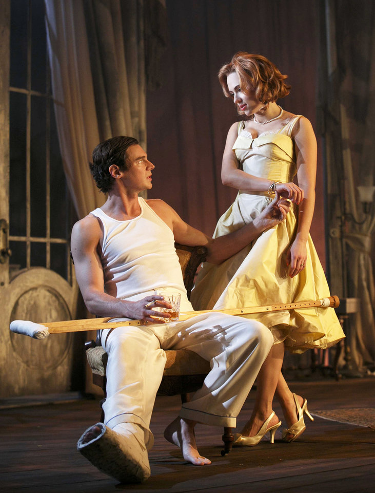 This undated theater image released by Boneau/Bryan-Brown showsBenjamin Walker, left, and Scarlett Johansson during a performance of
