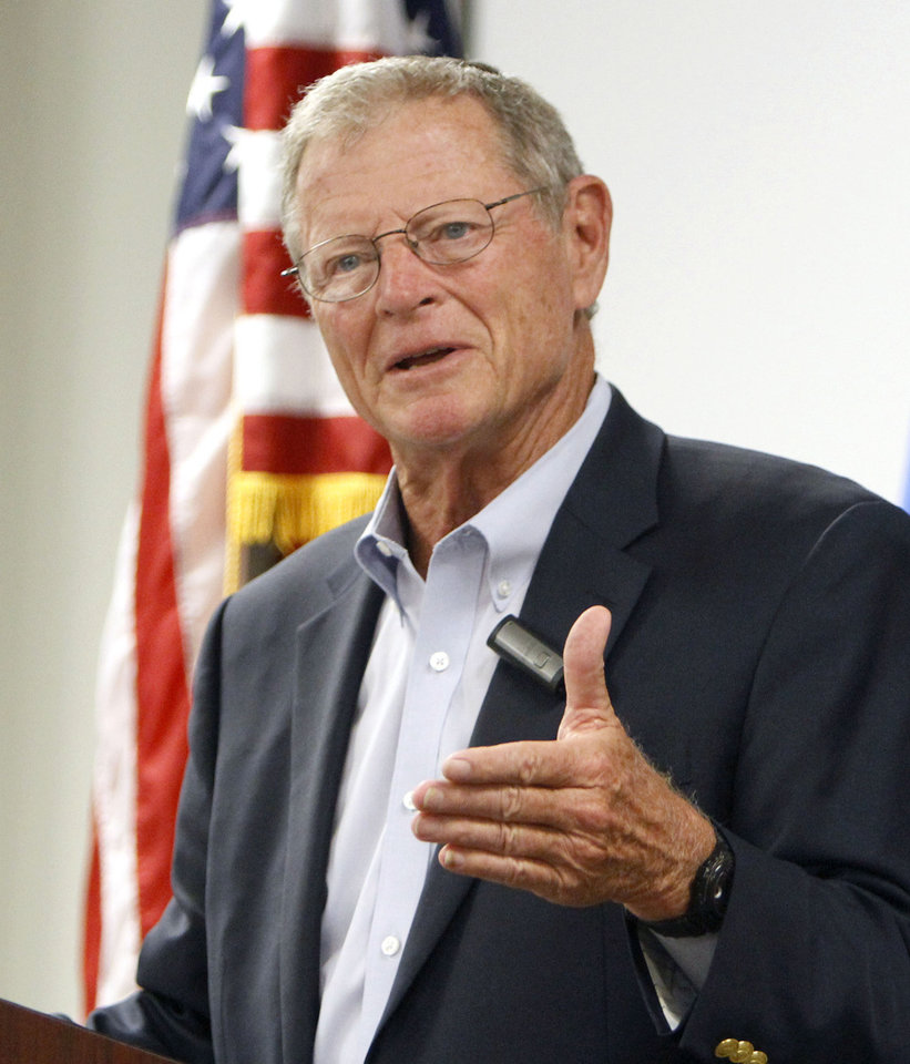 Oklahoma Sen. Jim Inhofe speaks to the Air Force Association at the Boeing facility in Midwest City, Okla., on Tuesday. Inhofe, a Republican, has announced that he will run for a fourth full term next year. <strong>PAUL HELLSTERN - AP</strong>